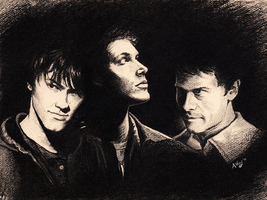 Sam, Dean and Cas by Lyvyan
