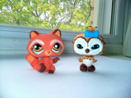 LPS : Red Panda and Barn Owl by marienoire