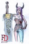 Female Warrior with her big sword by fdrawer