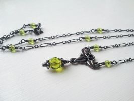 Elven Ivy -Oxidized Silver with Olivine Green by QuintessentialArts
