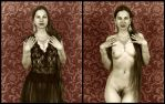 Woman in Black Lace Diptych, III by mjbw39