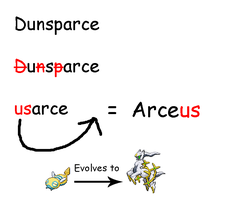 Dunsparce evolves to Arceus by Sonic-chaos