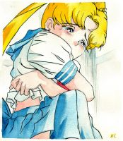 Serena (Usagi) Tsukino, Watercolour 1998 by RUSKULL