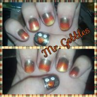 Mr. Gobbles nail art by wyldflower