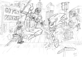 Spidey vs Sonic chase thru NYC by nick-metroid