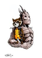 Rocket and Groot by Killersha