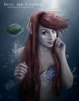 Ariel and Flounder by KassidyBeth123