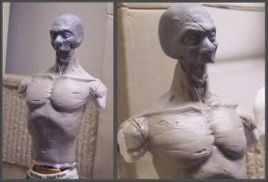 Jawless , Armless Zombie WIP by cbgorby