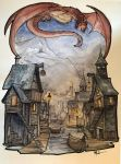 Watercolor Sketch ~ Smaug over Laketown by Harpokrates