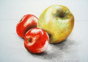 Drawing- Apple and tomatoes by Ennete