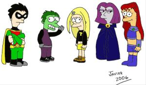 Teen Titans - Groening Style by javeman