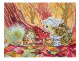 Hedgehogs and Autumnal Leaves by ElyVolpeArtica