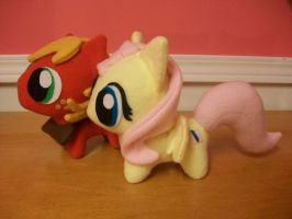 Big Mac and Fluttershy Chibi Pony Plushies by happybunny86