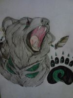 Spiritual Black Bear and Paw Print by Darkbullfrog