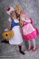 Buddies (Tilted Camera) - Peach and Toad by FuzzyRedPants