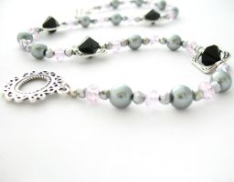 Pink and Gray Beaded Choker by MoonlightCraft