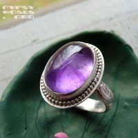 Oval Amethyst Ring in SS by che4u