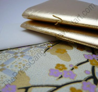 Faux leather gold small notebooks - set of 3 by ThePressGang-ink