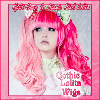 Split Wig - Atomic + Deep Pink by GothicLolitaWigs