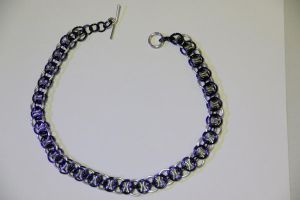 Blue and Silver Helm's Weave Necklace by Luherc