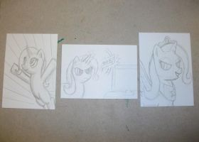 Triad of Trixie sketches by BlueWolf-2020