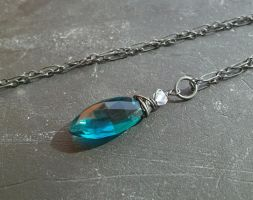Oxidized Teal Quartz and Rainbow Moonstone Pendant by QuintessentialArts