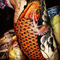 Koi tattoo close up in progress by jerrrroen