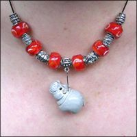 Red and Silver hippo Necklace by Hippopottermiss