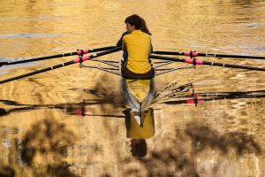 Sculling on liquid gold by Guizzmoh