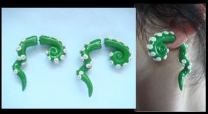 Green Fake Gauge Tentacle Earrings by KittyAzura