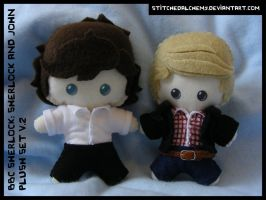 BBC Sherlock: Sherlock and John Plush Set V.2 by StitchedAlchemy