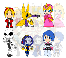 Assorted Chibis - AU Robo Mighty Ones by Dragon-FangX