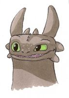 Toothless Headshot Doodle by IcelectricSpyro