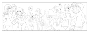 lineart - beach party by Suihara