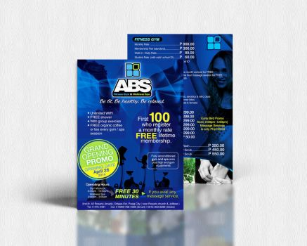 ABS Fitness Gym and Wellness Spa Flyer Design by seekthegeekk
