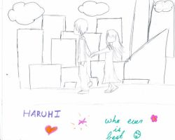 haruhi and unknown guy by kriona