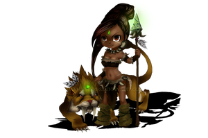 LoL: Nidalee The Bestial Huntress  Chibi by Danniesaurus