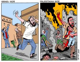 Both sides of Gaza conflict by Latuff2