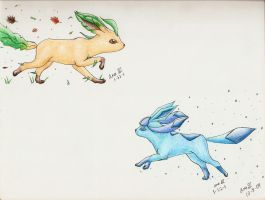 Glaceon and Leafeon by Alotika