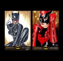 Catwoman and Batwoman Artist Proof Sketch Cards by Dr-Horrible