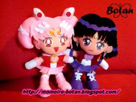 Chibimoon and Saturn plush ver by Momoiro-Botan