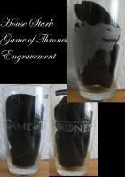 GoT House Stark Glass Engravement by weisewoelfin