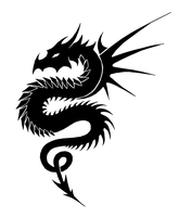 Tribal Dragon -Black and white by Zeila