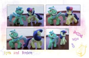 My Little Pony Lyra and Bonbon Blindbag Customs by kaizerin