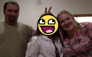 Dad giving bunny ears ftw by karlarei2003