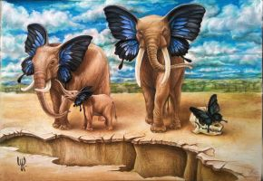 Elephants of Butterfly Valley by upacers