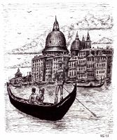Venice black and white drawing by Vitogoni