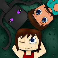 Under the Stars - Melody, Steve, and Enderbro by CubedCake
