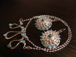 turq. necklace and earring 2 by irineja