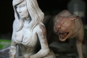 Jungle Queen, Cave Girl WIP 8 by Spanglerart